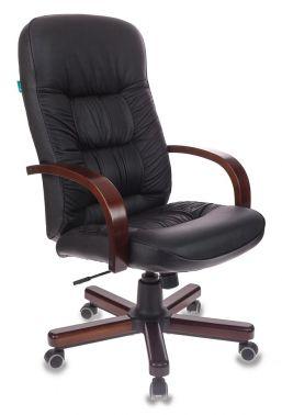 Кресло Бюрократ T-9908/WALNUT черная кожа натур.,крестовина металл.
