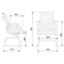 Кресло Бюрократ CH-883-LOW-V низкая спинка,(черная,белая) иск.кожа