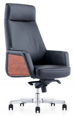 Кресло Бюрократ ANTONIO/ №1047875 черная кожа основание алюминий