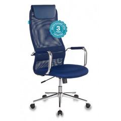 Кресло руководителя Бюрократ KB-9N/DB/TW-10N синий TW-05N TW-10N сетка крестовина хром №1140272