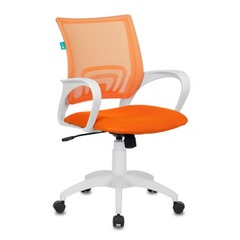 Кресло Бюрократ CH-W695N/OR/TW-96-1 оранжевый TW-38-3 TW-96-1 сетка/ткань (пластик белый)  № 1169419