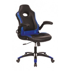 Кресло игровое Бюрократ VIKING-1N/BL-BLUE черный/синий искусственная кожа №1180811