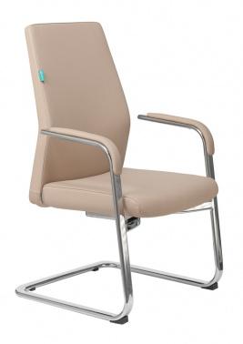 Кресло Бюрократ _JONS-LOW-V/BEIGE на полозьях бежевый кожа № 1185260