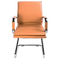Кресло Бюрократ Ch-993-Low-V светло-коричневый искусственная кожа низк.спин. полозья металл хром №664075