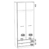 СГ-2 шкаф для одежды с ящиками